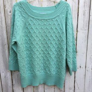 Sag harbor green 3/4 sleeve sweater L